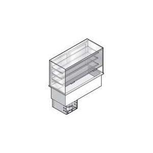 Витрина холодильная встраиваемая, вертикальная, L0.80м, 3 полки-решетки, -1/+7С, нерж.сталь. дин.охл, ванна охл. 2GN1/1, шторка