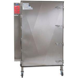 Печь-коптильня электрическая напольная, 1 камера 28х(457х457мм), электромех.упр, дверь глухая, нерж.сталь, щуп, колеса