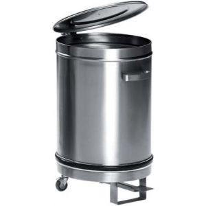 Бак для пищевых отходов,  50л, нерж.сталь 304, колёса, крышка, ручки, педаль