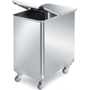 Бак для пищевых отходов, 100л, нерж.сталь 304, колёса, крышка-бабочка