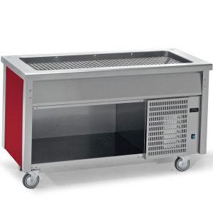 Прилавок раздаточный для холодных блюд, L1.50м, 4GN1/1-30, стенд полузакрытый без двери, нерж.сталь, передвижной