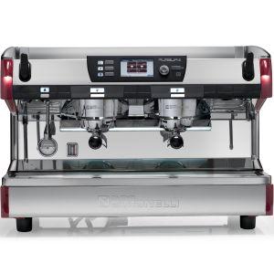 Кофемашина-полуавтомат, 2 группы (выс.), мультибойлерная, красная, 380V, подогреватель чашек