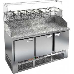 Стол холодильный для пиццы, GN1/1, L1.49м, 3 двери глухие, ножки, +2/+10С, нерж.сталь, дин.охл., агрегат нижний, гранит.стол.