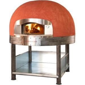 Печь дровяная, 1 камера, под 1.33м2 камень сплошной, термометр аналоговый, купол круглый красный, дверь сталь, подставка, ящик для золы