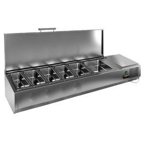 Витрина холодильная настольная, горизонтальная, для топпингов, L1.49м, 5GN1/3+1GN1/2, +2/+7С, стат.охл., крышка нерж.сталь, для стола PZE3
