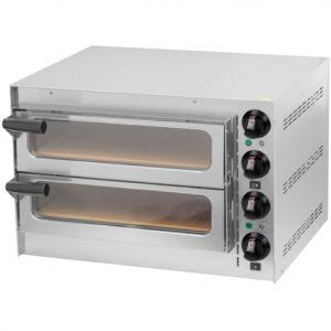 Печь для пиццы электрическая, подовая, 2 камеры  410х370х90мм, 2 пиццы D350мм, электромех.управление, двери стекло, под камень