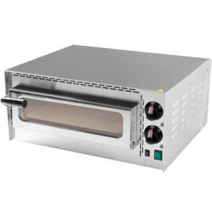 Печь для пиццы электрическая, подовая, 1 камера  410х370х90мм, 1 пицца D350мм, электромех.управление, дверь стекло, под камень, 2 терморег., +400С
