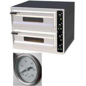 Печь для пиццы электрическая, подовая, 2 камеры  700х420х150мм, 4 пиццы D330мм, электромех.управление, двери стекло, под камень, термометр аналоговый