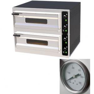 Печь для пиццы электрическая, подовая, 2 камеры  700х700х150мм, 8 пицц D330мм, электромех.управление, двери стекло, под камень, термометр аналоговый