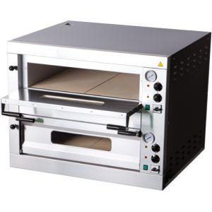Печь для пиццы электрическая, подовая, 2 камеры  700х700х150мм, 8 пицц D330мм, электромех.управление, двери стекло, под камень