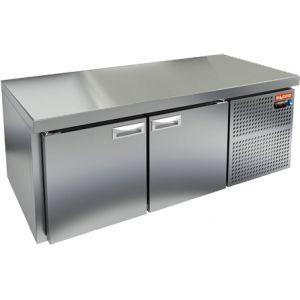 Стол холодильный низкий, GN1/1, L1.39м, без борта, 2 двери глухие, ножки низкие, -2/+10С, нерж.сталь, дин.охл., агрегат справа