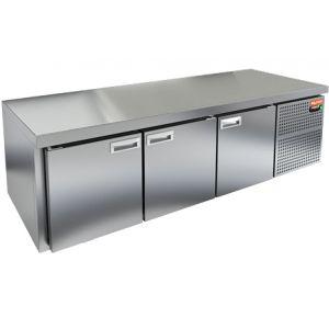 Стол холодильный низкий, GN1/1, L1.84м, без борта, 3 двери глухие, ножки низкие, -2/+10С, нерж.сталь, дин.охл., агрегат справа