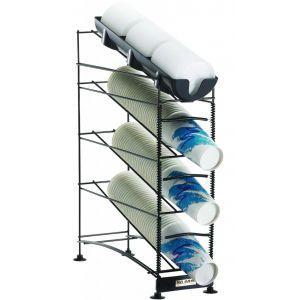 Диспенсер для стаканов и крышек, 236-1300мл D73-120мм, настольный, 4 уровня, открытый