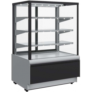Витрина холодильная напольная, горизонтальная, L0.90м, 3 полки, 0/+7С, дин.охл., черная+сталь, стекло фронтальное прямое, подсветка, стеклопак