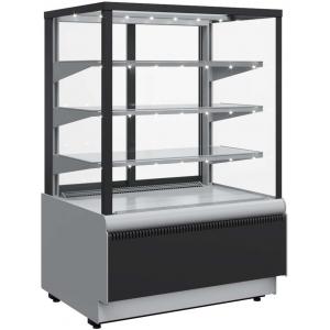 Витрина холодильная напольная, горизонтальная, L1.30м, 3 полки, 0/+7С, дин.охл., черно-серая, стекло фронтальное прямое, подсветка, стеклопакеты