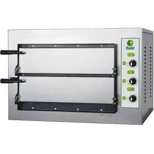 Печь для пиццы электрическая, подовая, 2 камеры  500х500х110мм, 8 пицц D250мм, электромех.управление, двери глухие, под камень