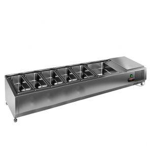 Витрина холодильная настольная, горизонтальная, для топпингов, L1.49м, 5GN1/3+1GN1/2, +2/+7С, стат.охл., открытая, ножки