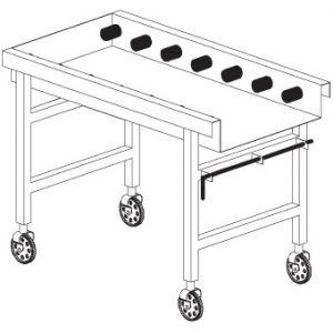 Стол выходной для машин посудомоечных RX, L1.40м, без борта, без полки, 4 колеса, роликовая поверхность, концевой выключатель