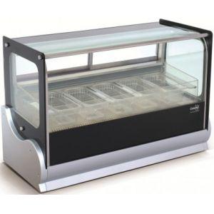 Витрина морозильная настольная, горизонтальная, для мороженого, L0.90м, 4GN1/3, -20/-15С, дин.охл., нерж.сталь, стекло фронтальное прямое