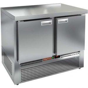 Стол морозильный, GN1/1, L1.00м, без борта, 2 двери глухие, ножки, -10/-18С, нерж.сталь, дин.охл., агрегат нижний, задняя стенка нерж.сталь