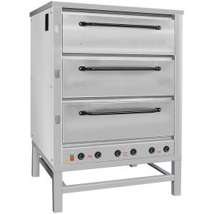 Печь для хлеба электрическая подовая, 3 камеры  965х760х250мм, электромех.упр., двери оцинк.сталь, паровулажнение, стенд открытый