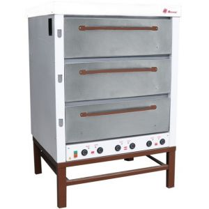 Печь для хлеба электрическая подовая, 3 камеры  965х760х250мм, электромех.упр., двери нерж.сталь, паровулажнение, стенд открытый
