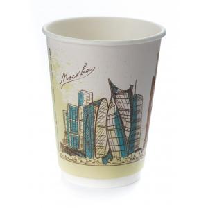 Стакан бумажный для горячих напитков двухслойный Города России 300мл