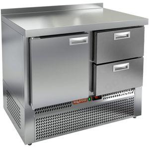 Стол холодильный, GN1/1, L1.00м, борт H50мм, 1 дверь глухая+2 ящика, ножки, -2/+10С, нерж.сталь, дин.охл., агрегат нижний