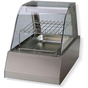 Витрина тепловая настольная, горизонтальная, L0.45м, 1GN1/1, +30/+90С, нерж.сталь, стекло фронтальное гнутое, поднимающаяся дверь