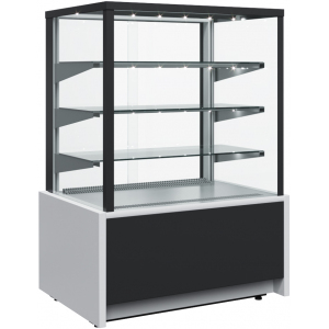 Витрина холодильная напольная, горизонтальная, L0.92м, 3 полки, +6/+12С, дин.охл., черно-серая, стекло фронтальное прямое, подсветка