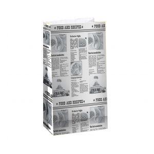 Пакет бумажный 210х105х60мм ГАЗЕТА прямоугольное дно