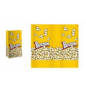 (1000 шт) Пакет бумажный для попкорна, 1.3л., желтый, рисунок Popcorn, однослойный