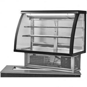 Витрина холодильная встраиваемая, горизонтальная, кондитерская, L1.01м, 2 полки, 0/+8С, стат.охл., черная, стекло фронтальное гнутое
