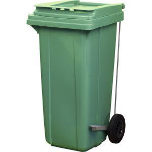 Контейнер для мусора 120л с педалью на колесах, пластик зеленый