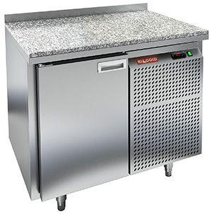 Стол холодильный, GN1/1, L0.90м, борт H50мм, 1 дверь глухая, ножки, -2/+10С, нерж.сталь, дин.охл., агрегат справа, столеш.камень