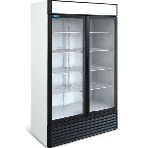 Шкаф холодильный, 1120л, 2 двери стекло, 8 полок. ножки, 0/+7С, дин.охл., белый, агрегат нижний, канапе