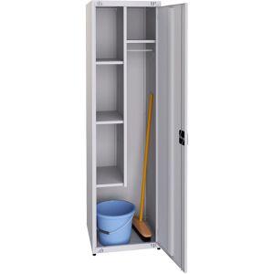 Шкаф для уборочного инвентаря,  500х500х1850мм, 1 секция, 1 дверь распашная, 4 полки, 2 крючка, 1 замок, краш.металл серый RAL7035, собранный