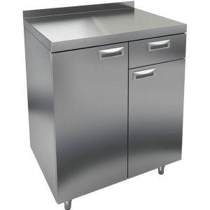 Модуль барный нейтральный для кофемашин,  800х600х850мм, борт, 2 двери, 1 ящик, ножки, нерж.сталь