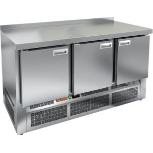 Стол холодильный, GN2/3, L1.49м, борт H50мм, 3 двери глухие, ножки, -2/+10С, нерж.сталь, дин.охл., агрегат нижний