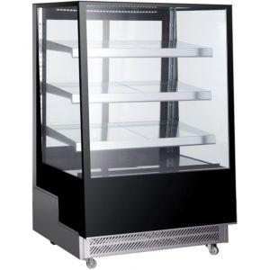 Витрина холодильная напольная, вертикальная, кондитерская, L0.90м, 3 полки, +2/+8С, дин.охл., чёрная, 4-х стороннее остекление