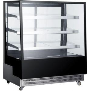 Витрина холодильная напольная, вертикальная, кондитерская, L1.20м, 3 полки, +2/+8С, дин.охл., чёрная, 4-х стороннее остекление