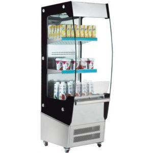 Витрина холодильная напольная, вертикальная, для самообслуживания, L0.50м, 2 полки, +2/+12С, дин.охл., нерж.сталь+чёрная рамка, колеса