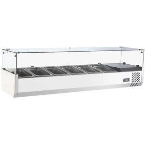Витрина холодильная настольная, горизонтальная, для топпингов, L1.50м, 6GN1/3, 0/+12С, стат.охл., нерж.сталь, верхняя структура стекло