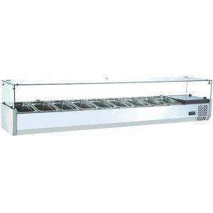 Витрина холодильная настольная, горизонтальная, для топпингов, L2.00м, 9GN1/3, 0/+12С, стат.охл., нерж.сталь, верхняя структура стекло