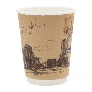 Стакан бумажный для горячих напитков двухслойный Города мира крафт 300мл