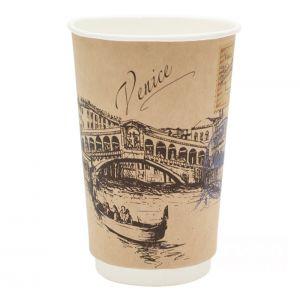 Стакан бумажный для горячих напитков двухслойный Города мира крафт 400мл