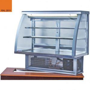 Витрина холодильная встраиваемая, горизонтальная, кондитерская, L1.26м, 2 полки, 0/+8С, стат.охл., насыщенный оранжевый, стекло фронтальное гнутое