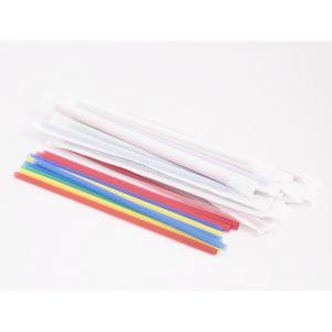 Трубочки для напитков в индивидуальной бумажной упаковке прямые D 7мм L 240мм пластик цветные, 250шт