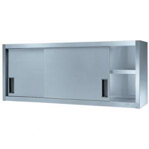 Полка настенная для тарелок и стаканов, 1800х400х650мм, 2 уровня: решетчатый+перфорированный, закрытая, двери-купе, нерж.сталь