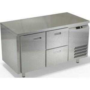 Стол холодильный, GN2/3, L1.39м, без борта, 1 дверь глухая+2 ящика, ножки, -2/+10С, нерж.сталь, дин.охл., агрегат справа